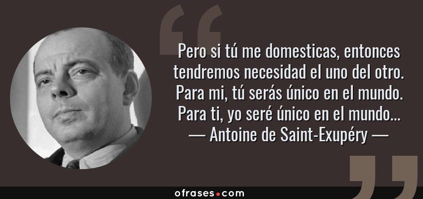 Frases de Antoine de Saint-Exupéry - Pero si tú me domesticas, entonces tendremos necesidad el uno del otro. Para mi, tú serás único en el mundo. Para ti, yo seré único en el mundo...