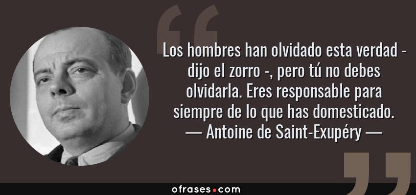 Frases de Antoine de Saint-Exupéry - Los hombres han olvidado esta verdad - dijo el zorro -, pero tú no debes olvidarla. Eres responsable para siempre de lo que has domesticado.