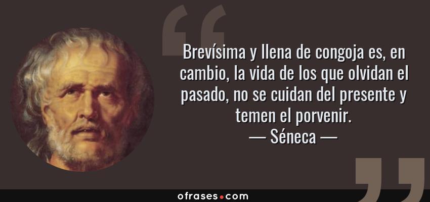 Frases de Séneca - Brevísima y llena de congoja es, en cambio, la vida de los que olvidan el pasado, no se cuidan del presente y temen el porvenir.
