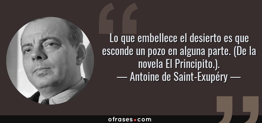 Frases de Antoine de Saint-Exupéry - Lo que embellece el desierto es que esconde un pozo en alguna parte. (De la novela El Principito.).