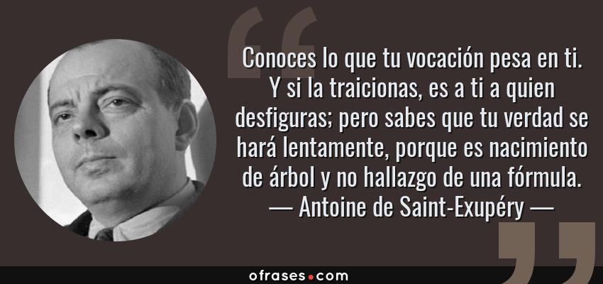 Frases de Antoine de Saint-Exupéry - Conoces lo que tu vocación pesa en ti. Y si la traicionas, es a ti a quien desfiguras; pero sabes que tu verdad se hará lentamente, porque es nacimiento de árbol y no hallazgo de una fórmula.
