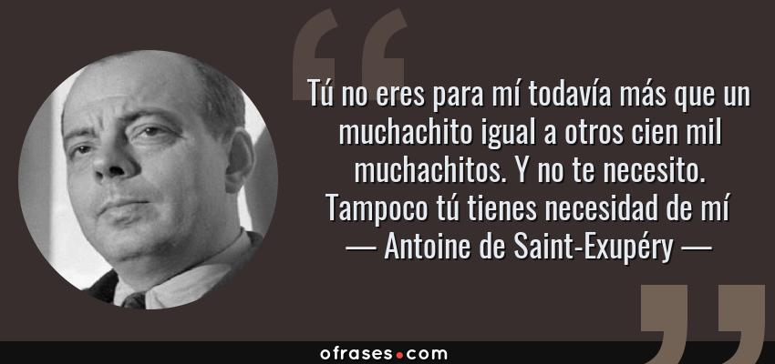 Frases de Antoine de Saint-Exupéry - Tú no eres para mí todavía más que un muchachito igual a otros cien mil muchachitos. Y no te necesito. Tampoco tú tienes necesidad de mí