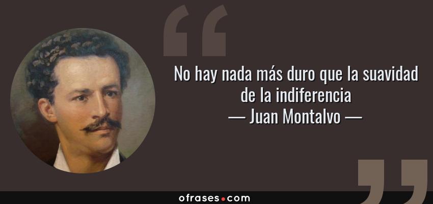 Frases de Juan Montalvo - No hay nada más duro que la suavidad de la indiferencia