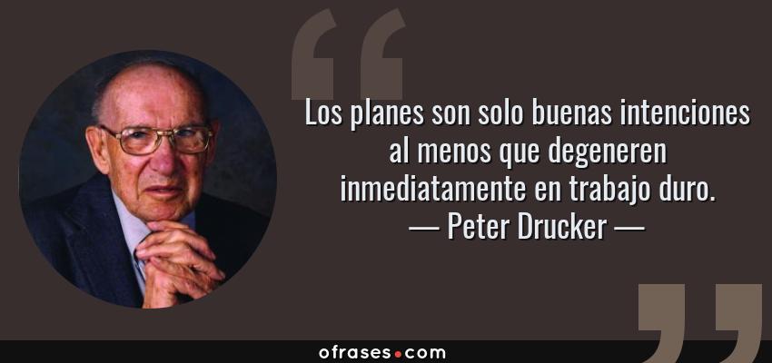 Peter Drucker Los Planes Son Solo Buenas Intenciones Al