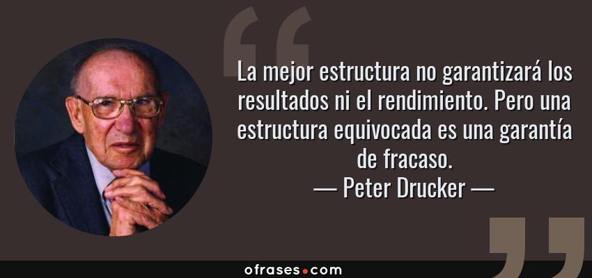 Frases de Peter Drucker - La mejor estructura no garantizará los resultados ni el rendimiento. Pero una estructura equivocada es una garantía de fracaso.