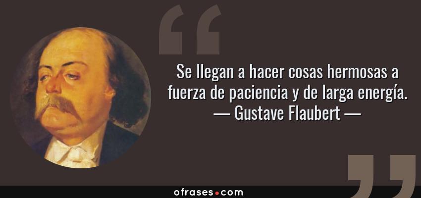 Frases de Gustave Flaubert - Se llegan a hacer cosas hermosas a fuerza de paciencia y de larga energía.