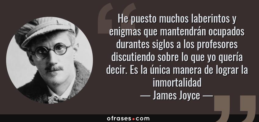 Frases de James Joyce - He puesto muchos laberintos y enigmas que mantendrán ocupados durantes siglos a los profesores discutiendo sobre lo que yo quería decir. Es la única manera de lograr la inmortalidad