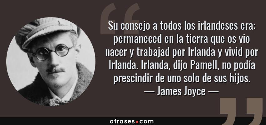 Frases de James Joyce - Su consejo a todos los irlandeses era: permaneced en la tierra que os vio nacer y trabajad por Irlanda y vivid por Irlanda. Irlanda, dijo Pamell, no podía prescindir de uno solo de sus hijos.
