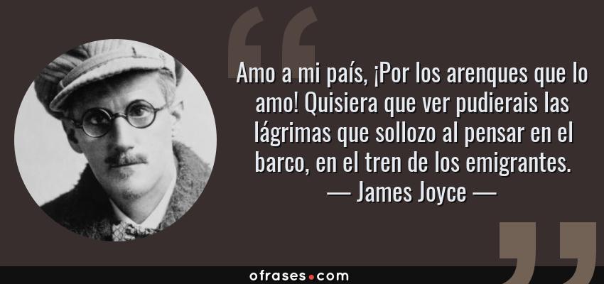 Frases de James Joyce - Amo a mi país, ¡Por los arenques que lo amo! Quisiera que ver pudierais las lágrimas que sollozo al pensar en el barco, en el tren de los emigrantes.