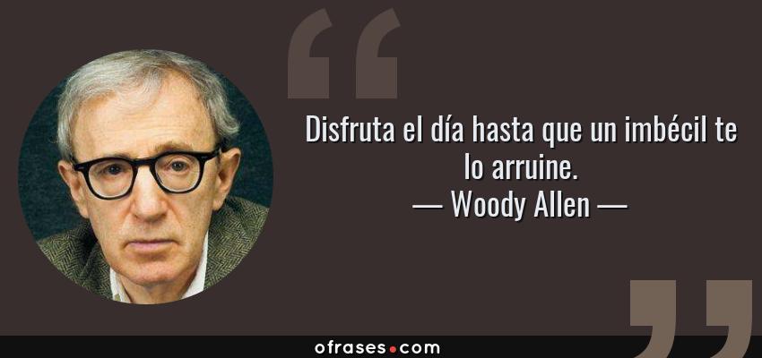 Frases de Woody Allen - Disfruta el día hasta que un imbécil te lo arruine.