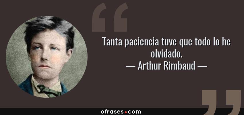 Frases de Arthur Rimbaud - Tanta paciencia tuve que todo lo he olvidado.