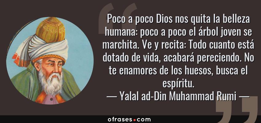 Frases de Yalal ad-Din Muhammad Rumi - Poco a poco Dios nos quita la belleza humana: poco a poco el árbol joven se marchita. Ve y recita: Todo cuanto está dotado de vida, acabará pereciendo. No te enamores de los huesos, busca el espíritu.