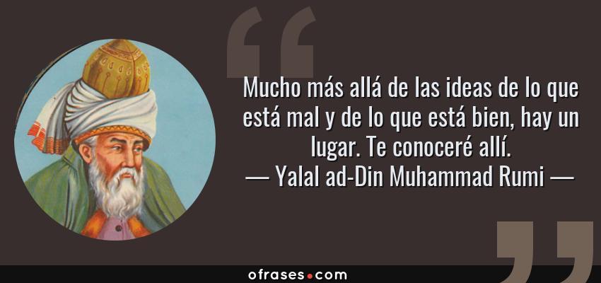 Frases de Yalal ad-Din Muhammad Rumi - Mucho más allá de las ideas de lo que está mal y de lo que está bien, hay un lugar. Te conoceré allí.