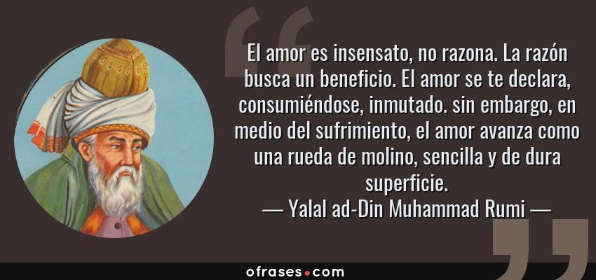 Frases de Yalal ad-Din Muhammad Rumi - El amor es insensato, no razona. La razón busca un beneficio. El amor se te declara, consumiéndose, inmutado. sin embargo, en medio del sufrimiento, el amor avanza como una rueda de molino, sencilla y de dura superficie.