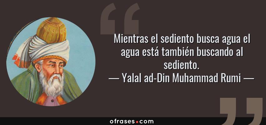 Frases de Yalal ad-Din Muhammad Rumi - Mientras el sediento busca agua el agua está también buscando al sediento.