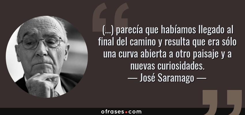 Frases de José Saramago - (...) parecía que habíamos llegado al final del camino y resulta que era sólo una curva abierta a otro paisaje y a nuevas curiosidades.