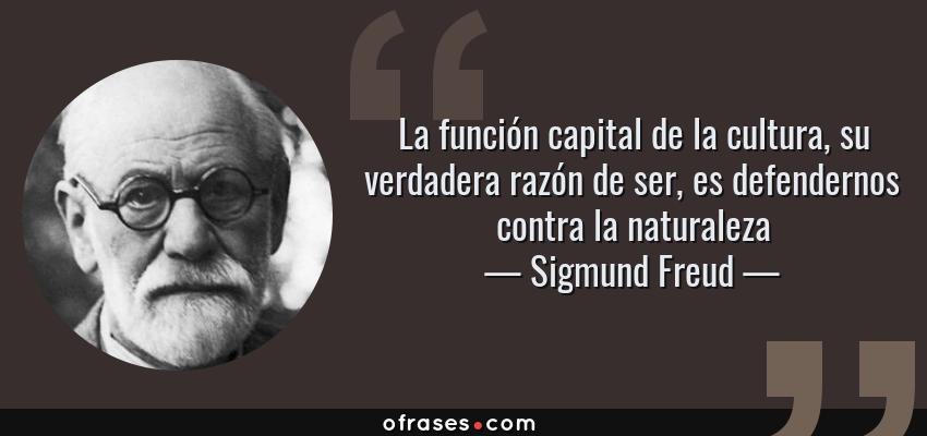 Frases de Sigmund Freud - La función capital de la cultura, su verdadera razón de ser, es defendernos contra la naturaleza