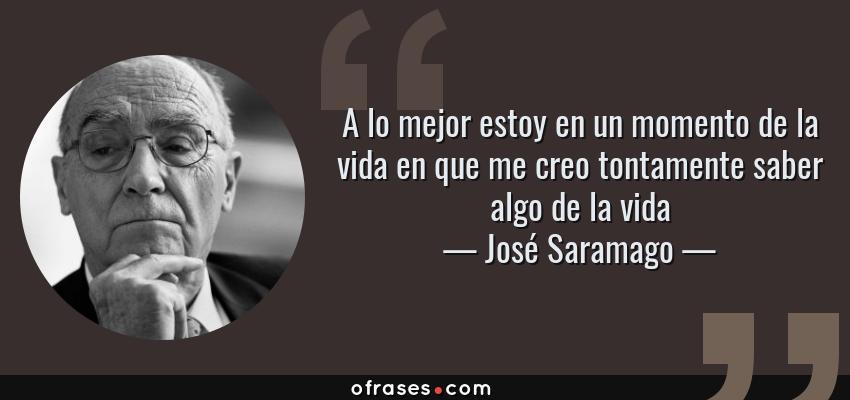 Frases de José Saramago - A lo mejor estoy en un momento de la vida en que me creo tontamente saber algo de la vida