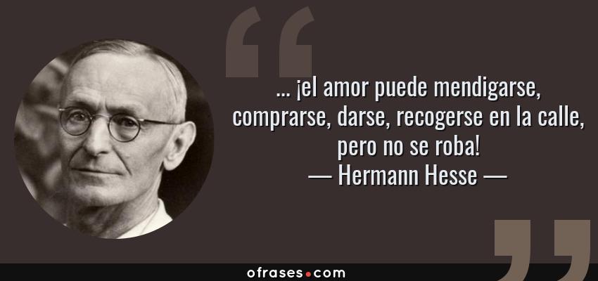 Frases de Hermann Hesse - ... ¡el amor puede mendigarse, comprarse, darse, recogerse en la calle, pero no se roba!