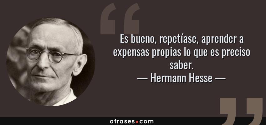 Frases de Hermann Hesse - Es bueno, repetíase, aprender a expensas propias lo que es preciso saber.