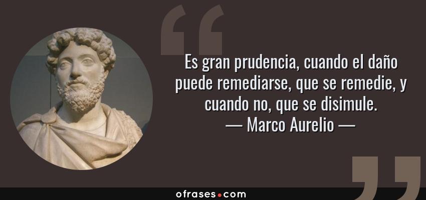 Frases de Marco Aurelio - Es gran prudencia, cuando el daño puede remediarse, que se remedie, y cuando no, que se disimule.