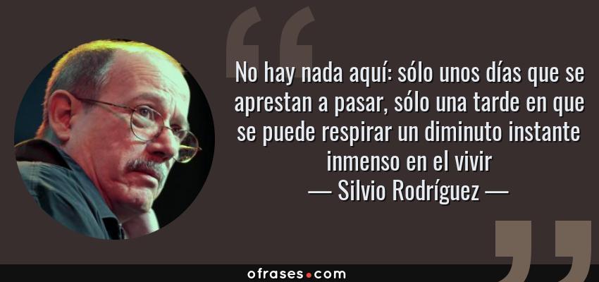 Frases de Silvio Rodríguez - No hay nada aquí: sólo unos días que se aprestan a pasar, sólo una tarde en que se puede respirar un diminuto instante inmenso en el vivir