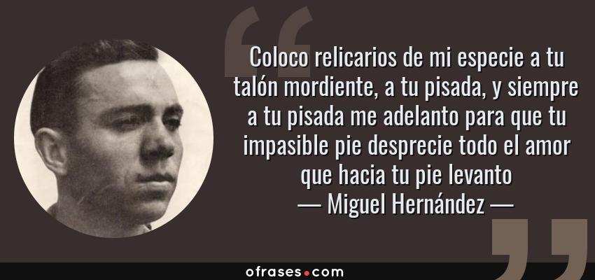 Frases de Miguel Hernández - Coloco relicarios de mi especie a tu talón mordiente, a tu pisada, y siempre a tu pisada me adelanto para que tu impasible pie desprecie todo el amor que hacia tu pie levanto