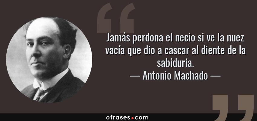 Frases de Antonio Machado - Jamás perdona el necio si ve la nuez vacía que dio a cascar al diente de la sabiduría.