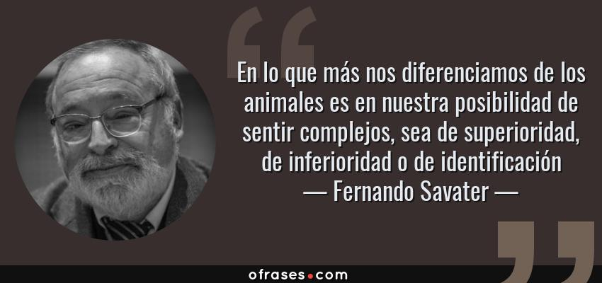Frases de Fernando Savater - En lo que más nos diferenciamos de los animales es en nuestra posibilidad de sentir complejos, sea de superioridad, de inferioridad o de identificación