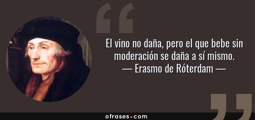 Frases de Erasmo de Róterdam - El vino no daña, pero el que bebe sin moderación se daña a sí mismo.