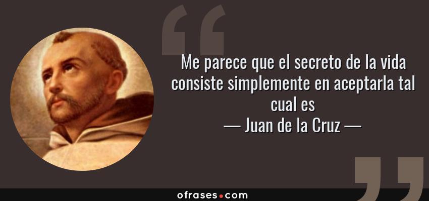 Frases de Juan de la Cruz - Me parece que el secreto de la vida consiste simplemente en aceptarla tal cual es