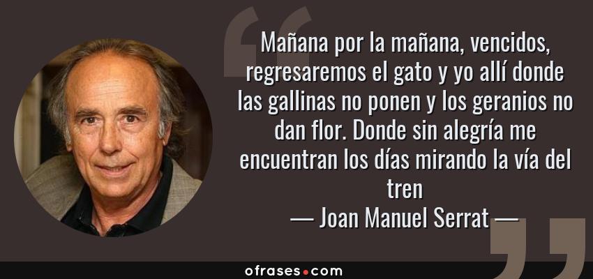 Frases de Joan Manuel Serrat - Mañana por la mañana, vencidos, regresaremos el gato y yo allí donde las gallinas no ponen y los geranios no dan flor. Donde sin alegría me encuentran los días mirando la vía del tren