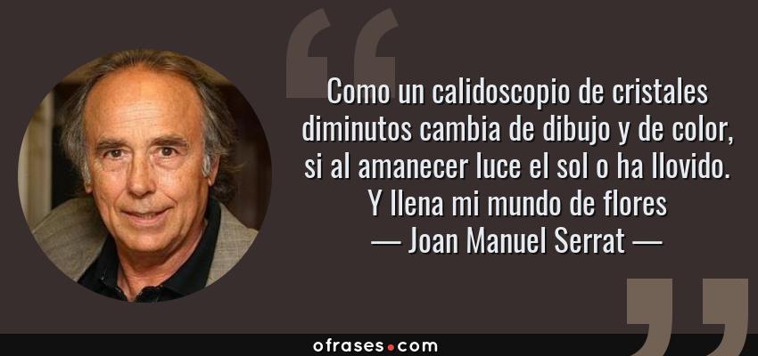 Frases de Joan Manuel Serrat - Como un calidoscopio de cristales diminutos cambia de dibujo y de color, si al amanecer luce el sol o ha llovido. Y llena mi mundo de flores