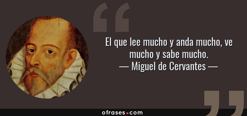 Frases de Miguel de Cervantes - El que lee mucho y anda mucho, ve mucho y sabe mucho.