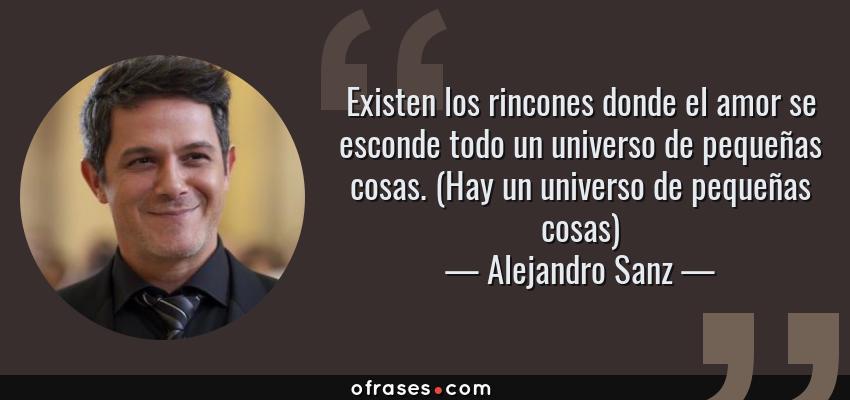 Frases de Alejandro Sanz - Existen los rincones donde el amor se esconde todo un universo de pequeñas cosas. (Hay un universo de pequeñas cosas)