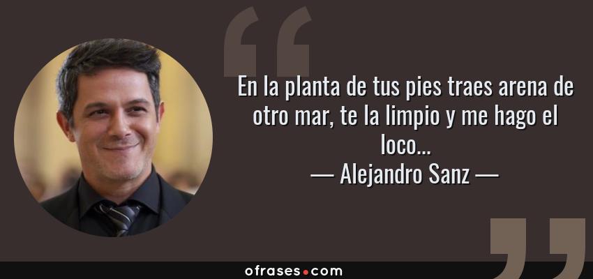 Frases de Alejandro Sanz - En la planta de tus pies traes arena de otro mar, te la limpio y me hago el loco...