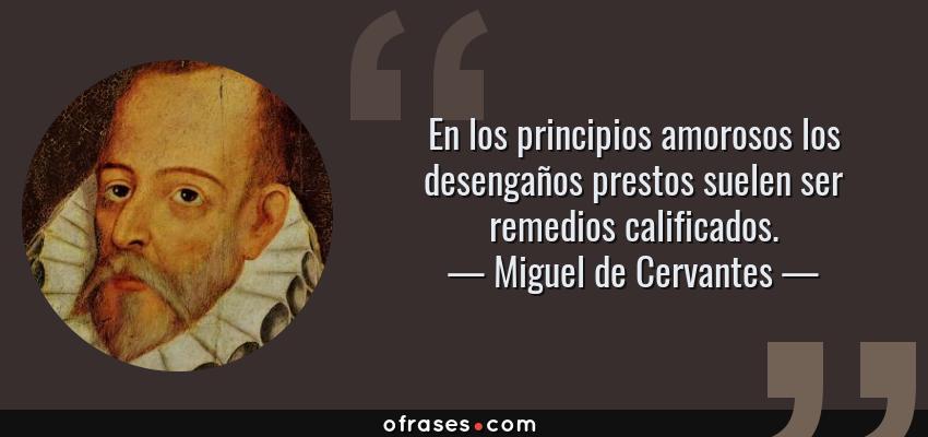 Frases de Miguel de Cervantes - En los principios amorosos los desengaños prestos suelen ser remedios calificados.