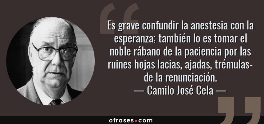 Frases de Camilo José Cela - Es grave confundir la anestesia con la esperanza; también lo es tomar el noble rábano de la paciencia por las ruines hojas lacias, ajadas, trémulas- de la renunciación.