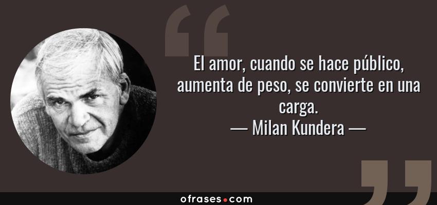 Milan Kundera: El amor, cuando se hace público, aumenta de peso ...