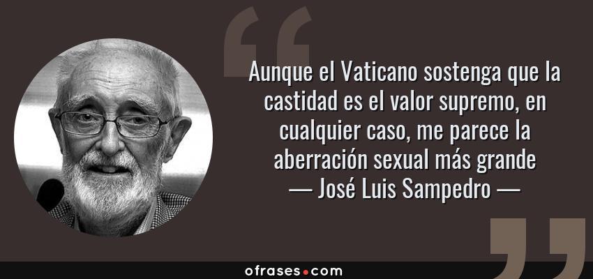 Frases de José Luis Sampedro - Aunque el Vaticano sostenga que la castidad es el valor supremo, en cualquier caso, me parece la aberración sexual más grande