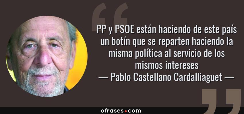 Frases de Pablo Castellano Cardalliaguet - PP y PSOE están haciendo de este país un botín que se reparten haciendo la misma política al servicio de los mismos intereses