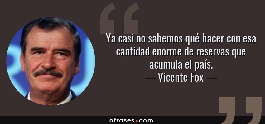Frases de Vicente Fox - Ya casi no sabemos qué hacer con esa cantidad enorme de reservas que acumula el país.