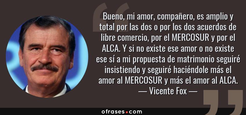 Frases de Vicente Fox - Bueno, mi amor, compañero, es amplio y total por las dos o por los dos acuerdos de libre comercio, por el MERCOSUR y por el ALCA. Y si no existe ese amor o no existe ese sí a mi propuesta de matrimonio seguiré insistiendo y seguiré haciéndole más el amor al MERCOSUR y más el amor al ALCA.