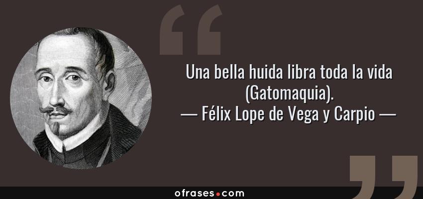 Frases de Félix Lope de Vega y Carpio - Una bella huida libra toda la vida (Gatomaquia).