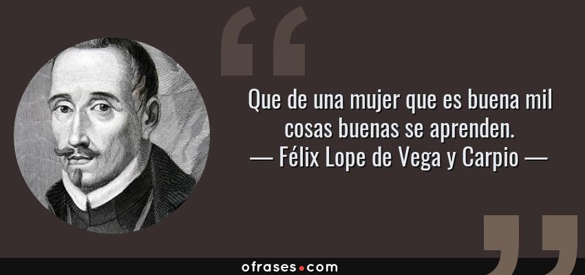 Frases de Félix Lope de Vega y Carpio - Que de una mujer que es buena mil cosas buenas se aprenden.