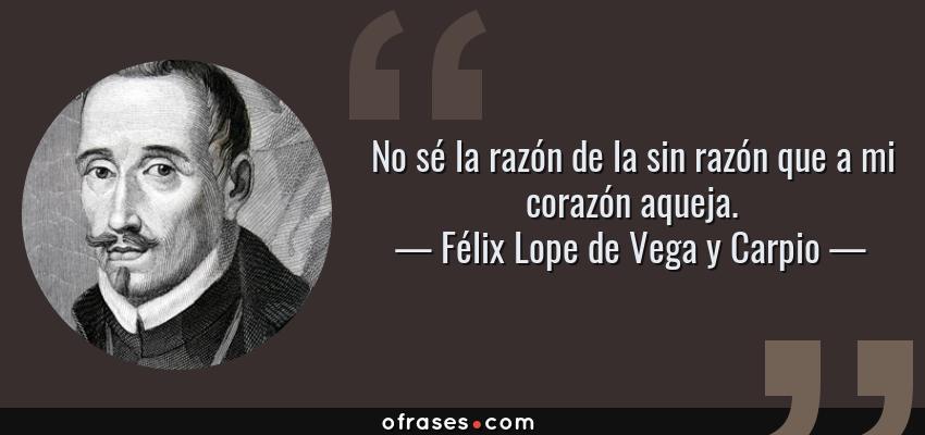 Frases de Félix Lope de Vega y Carpio - No sé la razón de la sin razón que a mi corazón aqueja.