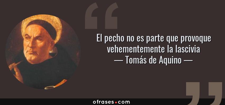 Frases de Tomás de Aquino - El pecho no es parte que provoque vehementemente la lascivia