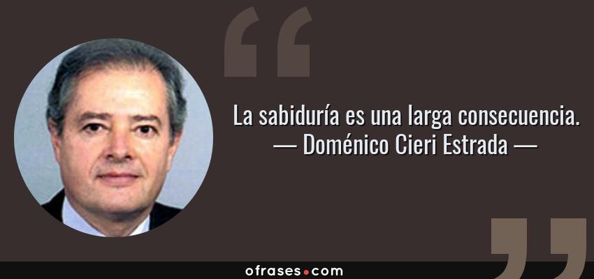 Frases de Doménico Cieri Estrada - La sabiduría es una larga consecuencia.