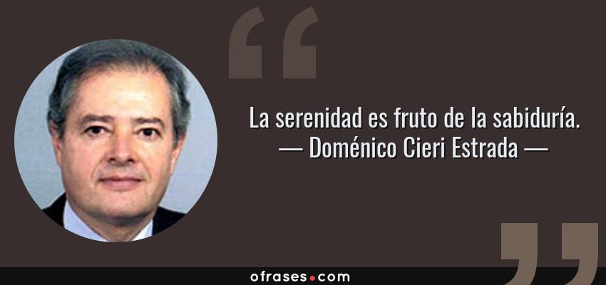 Frases de Doménico Cieri Estrada - La serenidad es fruto de la sabiduría.