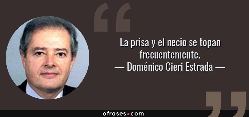 Frases de Doménico Cieri Estrada - La prisa y el necio se topan frecuentemente.